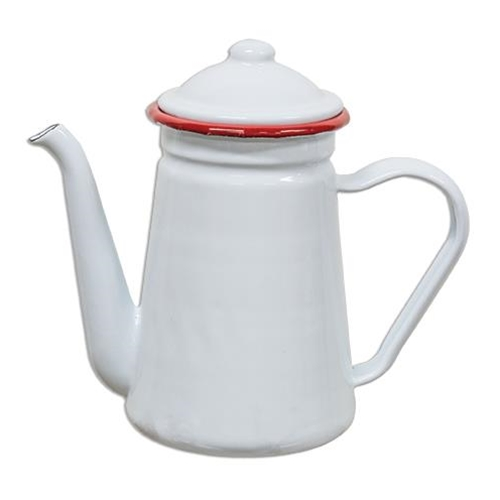 G1020 - Red Rim Enamel - Coffee Pot by CWI