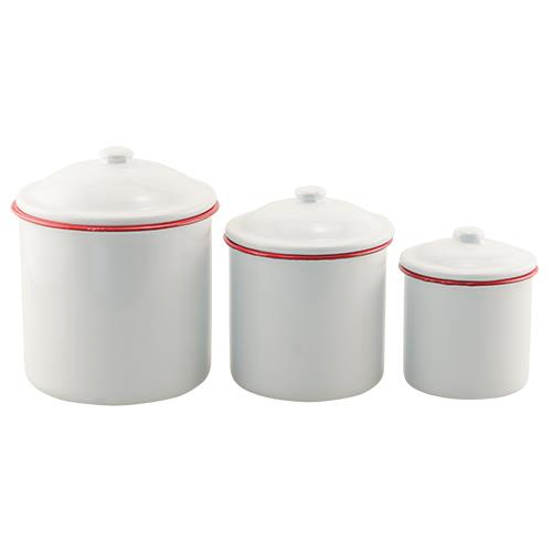 G2017LMS - Set of 3 - Red Rim Enamel Canisters by CWI