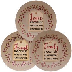 Love, Friend, Family Tag Plate, Asst.